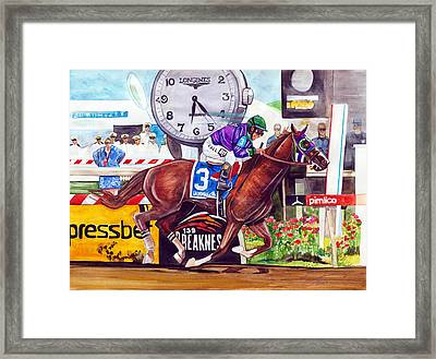 California Chrome Wins The Preakness Stakes Framed Print by Dave Olsen