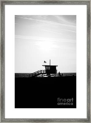 California Lifeguard Stand In Black And White Framed Print by Paul Velgos