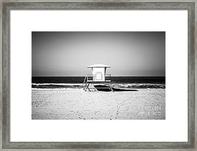 California Lifeguard Tower Black And White Picture Framed Print by Paul Velgos