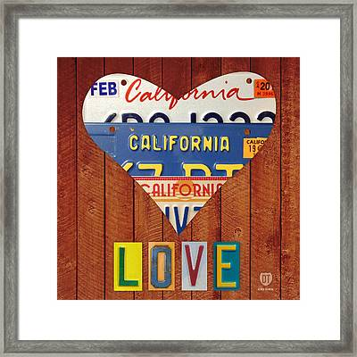 California Love Heart License Plate Art Series On Wood Boards Framed Print by Design Turnpike