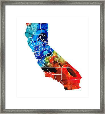 California - Map Counties By Sharon Cummings Framed Print by Sharon Cummings