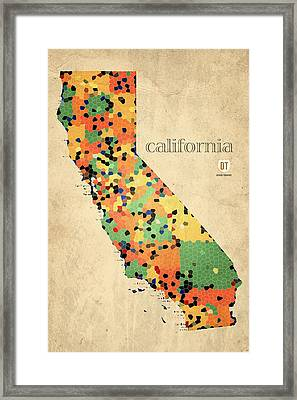 California Map Crystalized Counties On Worn Canvas By Design Turnpike Framed Print by Design Turnpike