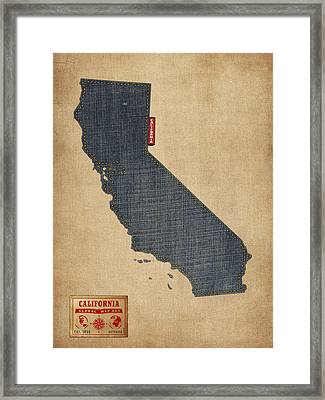 California Map Denim Jeans Style Framed Print by Michael Tompsett
