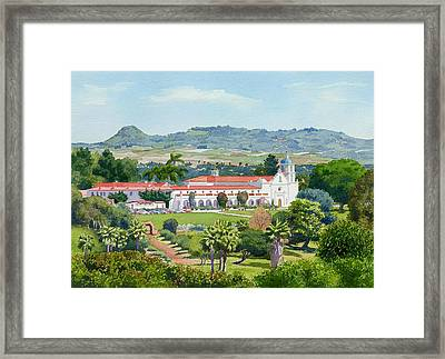 California Mission San Luis Rey Framed Print by Mary Helmreich