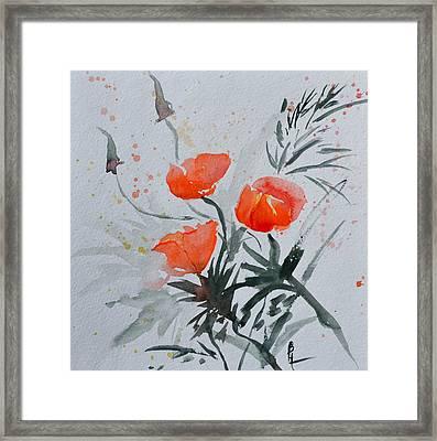 California Poppies Sumi-e Framed Print by Beverley Harper Tinsley