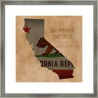 California State Flag Map Outline With Founding Date On Worn Parchment Background Framed Print by Design Turnpike