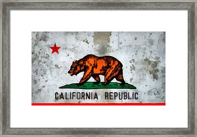 California State Flag Weathered And Worn Framed Print by Dan Sproul