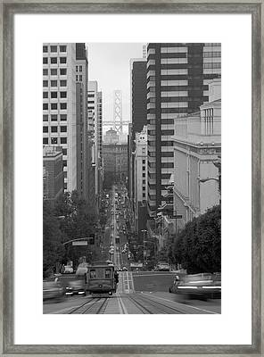 California Street San Francisco Streetcar Framed Print by Silvio Ligutti
