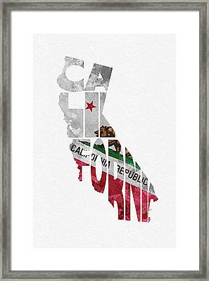 California Typographic Map Flag Framed Print by Ayse Deniz
