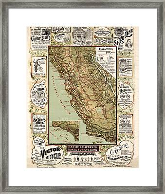 California Vintage Antique Map Cycling Framed Print by World Art Prints And Designs
