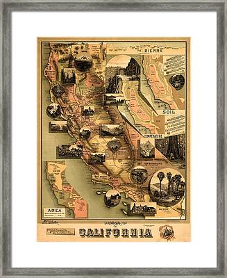 California Vintage Antique Map Framed Print by World Art Prints And Designs