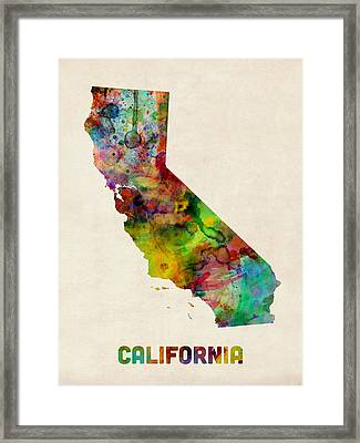 California Watercolor Map Framed Print by Michael Tompsett