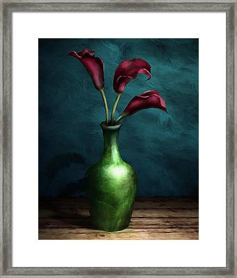 Calla Lilies I Framed Print by April Moen