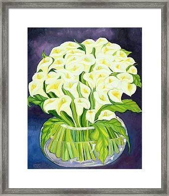 Calla Lilies Framed Print by Laila Shawa