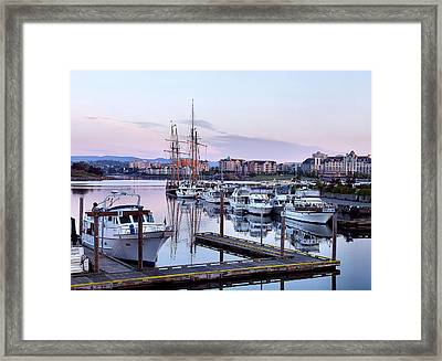 Calm In The Harbour Framed Print by Jenny Hudson