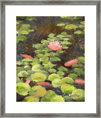 Calm Waters  Rec With Gold Leaf By Vic Mastis Framed Print by Vic  Mastis