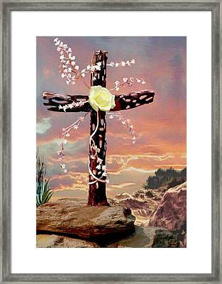 Calvary Cross Framed Print by Ron Chambers