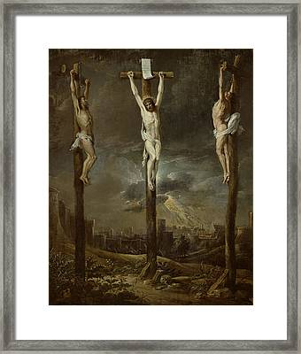 Calvary Oil On Card Framed Print by David the Younger Teniers