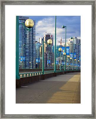 Cambie Bridge Walkway Framed Print by Laurie Tsemak
