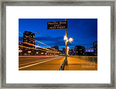 Cambie Street Bridge At Night Framed Print by Terry Elniski