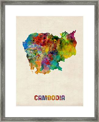 Cambodia Watercolor Map Framed Print by Michael Tompsett