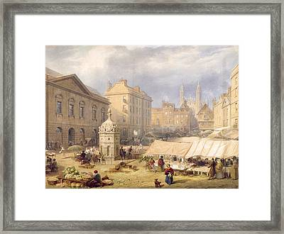 Cambridge Market Place, 1841 Framed Print by Frederick Mackenzie