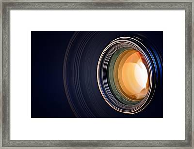 Camera Lens Background Framed Print by Johan Swanepoel
