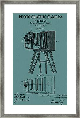 Camera Patent On Canvas Framed Print by Dan Sproul