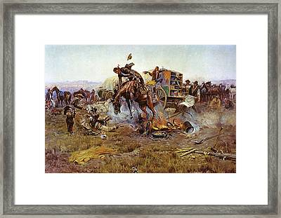 Camp Cooks Trouble Framed Print by Charles Russell