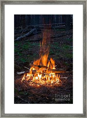 Camp Fire Framed Print by Boon Mee