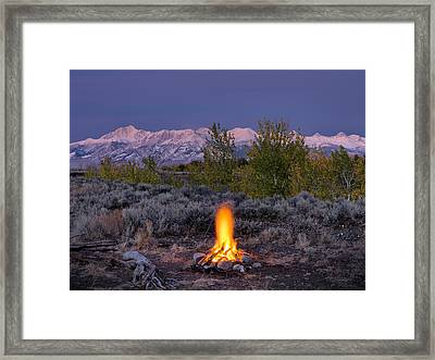 Camp Fire Warmth Framed Print by Leland D Howard