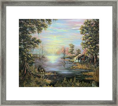 Camp On The Bayou Framed Print by Karry Degruise