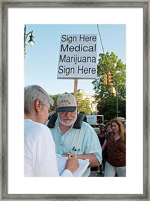 Campaign To Legalise Medical Marijuana Framed Print by Jim West