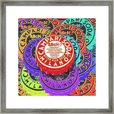 Campari Soda Caps Framed Print by Tony Rubino