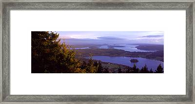 Campbell Lake And Whidbey Island Wa Framed Print by Panoramic Images
