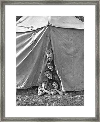 Camping Family Portrait Framed Print by Underwood Archives