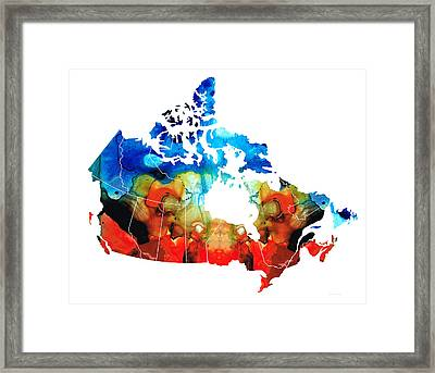 Canada - Canadian Map By Sharon Cummings Framed Print by Sharon Cummings
