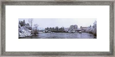 Canada Island And Spokane River Framed Print by Daniel Hagerman