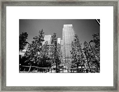 canada square park and citigroup centre 33 and 25 canada square canary wharf London England UK Framed Print by Joe Fox