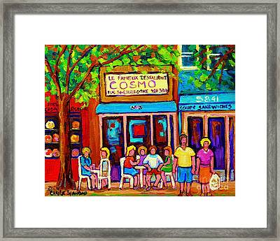 Canadian Artists Montreal Paintings Cosmos Restaurant Sherbrooke Street West Sidewalk Cafe Scene Framed Print by Carole Spandau