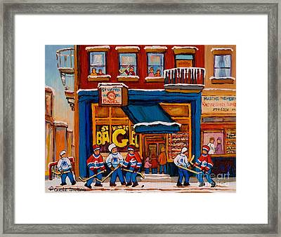 Canadian  Artists Paint Hockey And Montreal Streetscenes Over 500 Prints Available  Framed Print by Carole Spandau