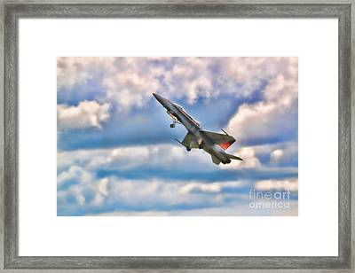 Canadian Cf18 Hornet Taking Flight  Framed Print by Cathy  Beharriell