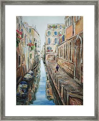 Canal 4 Returning Home Framed Print by Becky Kim