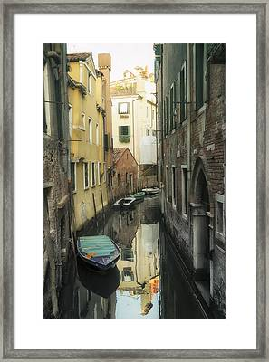 Canal Boats And Reflections Venice Italy Framed Print by Marianne Campolongo