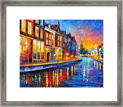 Canal In Amsterdam Framed Print by Leonid Afremov