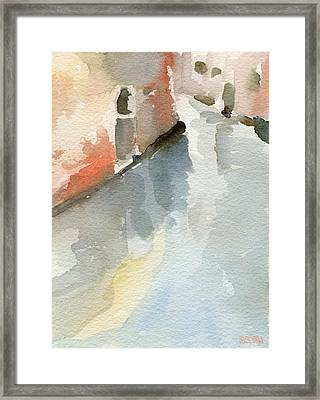 Canal Reflection Watercolor Painting Of Venice Italy Framed Print by Beverly Brown Prints