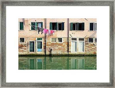 Canal Reflections Framed Print by Valentino Visentini