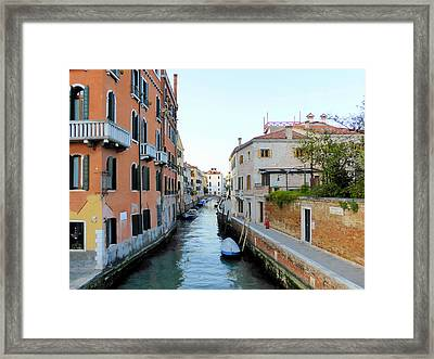Canal With Sidewalk Framed Print by Bishopston Fine Art