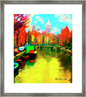 Canals Of Amsterdam Framed Print by Ted Azriel