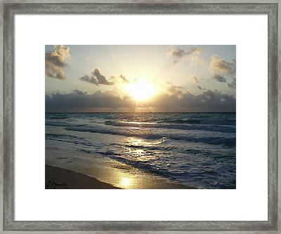 Cancun Sunrise Framed Print by Ellen Henneke